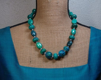 Natural Colors of Chrysocolla Gemstones, 925 Silver Necklace