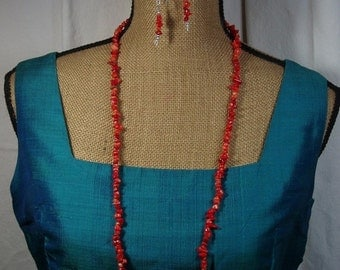 Valentine 20%Off-End 2-11 AAA  Orange Coral Gemstone Chips,.925 Silver Necklace and Earrings