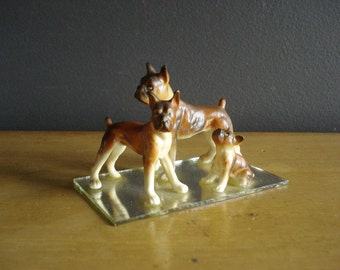 Tiny Dog Figurine Set - Vintage Ceramic Boxer - Bone China - Made in Japan