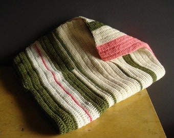Neon Baby - Vintage Crocheted Baby Blanket - Pink, Olive Green and Cream - Neon Pink and Coral and Drab Green Stripes