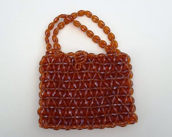 60s Handbag/ Rosenfeld Handbag/ Italian Handbag/ Vintage Handbag/ Beaded Handbag/ Orange Handbag/ Vintage Purse/ Evening Handbag