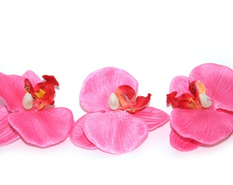 5 Pink Phalaenopsis or Butterfly Orchid Blossoms - silk flowers- artificial flowers
