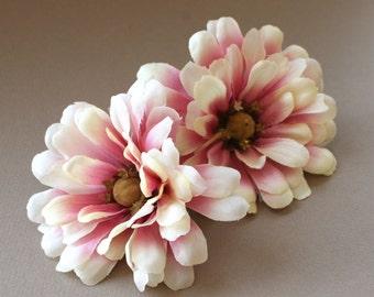2 Violet Cream Zinnia - Artificial Flowers, Silk Flowers