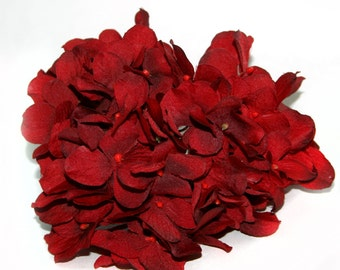 Deep Rich Red Hydrangea Bunch - Full Head - Artificial Flowers, Blossoms, Silk Flowers PRE-ORDER