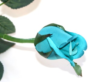 1 Turquoise Princess Rose Bud - Barely Blooming - Artificial Flowers, Silk Roses - PRE-ORDER