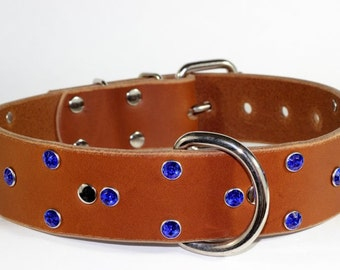 Leather Dog Collar - Blue Crystal Leather Dog Collar - Tan Leather Collar - Crystal Leather Collar - Leather Pet Collar