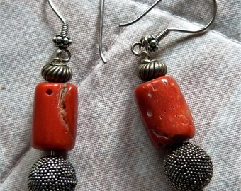 Moroccan Tunisia Berber Jewelry, antique silver earrings