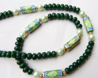 Antique Chinese Necklace, Chinese Enamel Beads - emerald green jade and pearl necklace- Beadartaustria Design, Jade Necklace