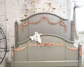 Painted Cottage Chic Shabby French Full / Double Vintage Romantic Bed BD703
