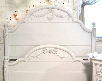 French Bed Painted Cottage Shabby Chic Romantic Twin, Full , Queen Bed LGPOST