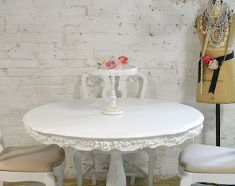 Dining Table Painted Cottage Chic Shabby White French Dining Table TBL93