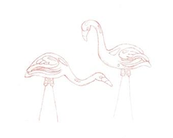 minimalist watercolor print: Lawn Flamingoes