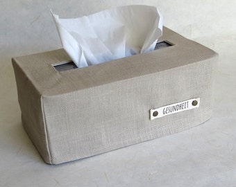 Gesundheit Rectangular Tissue Box Cover, Linen, Natural