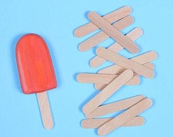 Mini Wooden Popsicle Sticks, Mini Ice Cream Sticks, Mini Paddle Pop Sticks, Mini Cake Pop Sticks, Lollipop Sticks, Wooden Craft Sticks (50)