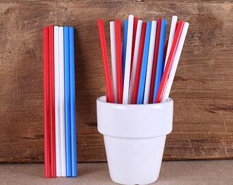 Patriotic Lollipop Sticks, Red, White & Blue Cake Pop Sticks, Plastic Lollipop Sticks, 4th of July Cake Pop Sticks, Patriotic Sucker Sticks