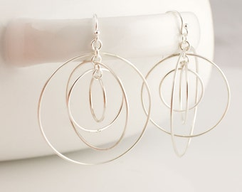 Large Satellite Circle Hoops Sterling Silver Earrings Forged