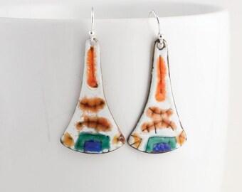 Long Orange, Brown, Blue and Green Enamel Earrings - OOAK