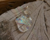 almost clear dichroic glass odd shaped pendant