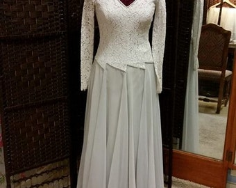 1940s Dove Grey Lace and Chiffon Wedding Dress
