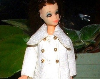 1970 Mod Dawn Doll Clothes - LONG n LEATHER in White - Design 8125 - RARE Fits Pippa