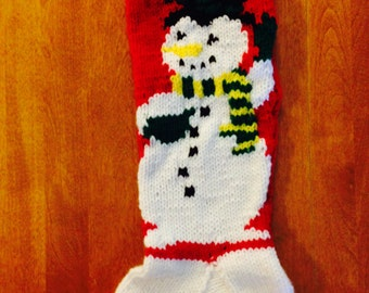 Mr. Snowman Christmas Stocking, Personalized Mr. Snowman Stocking, Knit Christmas Stocking