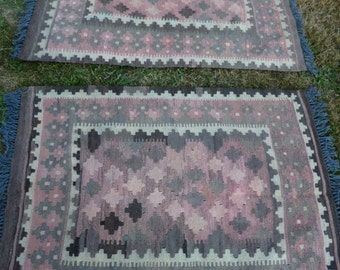 Pair of Small Pretty Rugs Wool Maimana Afghan Mats Kilim Tapis Carpets hand made 3 ft 5 x 2 ft 5""