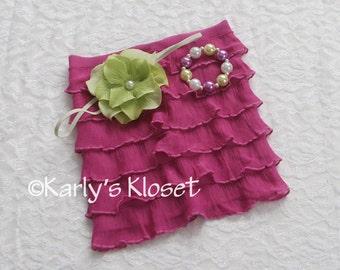 Baby Girl Skirt, Fuchsia Pink Ruffle Baby Skirt, Newborn Girl Prop, Flower Headband, Baby Girls Prop Set, Baby Bracelet, Newborn Prop Outfit
