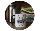Boston Terrier Mug, Coffee Cup, Sublimated by Hand, Dog with Houndstooth and glasses black, 11oz Drink Container, Kitchen, Housewarming Gift