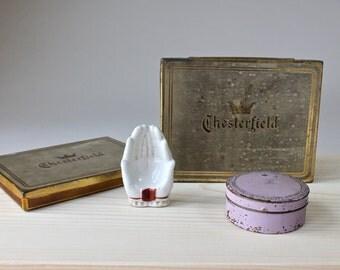 Vintage Cigarette Tins, Porcelain Hand Ashtray, Lot Smoking Items, Chesterfield Tins, Little Porcelain Hand Ashtray 1940s 1950s