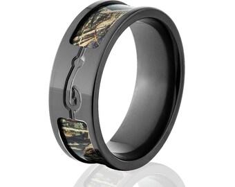 Max 5 Camo Rings, RealTree Camo Rings, Camo Wedding Bands, Fishhook Rings: BZ-CamoMax5-FishHook