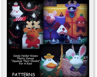 Plastic Canvas - Kisses Candy Holder Patterns - PDF 05221211 - Santa Reindeer Easter Bunny Dog Cow Pig and More