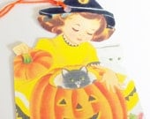 Halloween Tags - Retro Girl Tags - Set of 3 - Witch Hat Girl - Jack O Lantern Tags - Black White Cats - Cute Halloween Tags - Girl N Cats