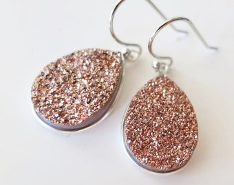 VALENTINES SALE,Rose Gold Druzy Earrings,Bridal Druzy,Rose Bridal Earrings,Natural Druzy Drop Earring,Teardrop,Titanium Druzy Copper Crystal