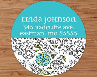 Nina (Mod Floral) Custom Address Labels or Stickers