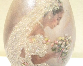 Mid Century Beautiful Hand Painted Wedding Bride Egg