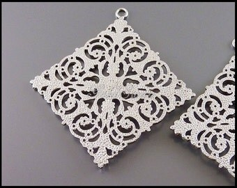 2 large filigree pendants in matte rhodium silver finish, filigree brass pendants / connectors 2054-MR