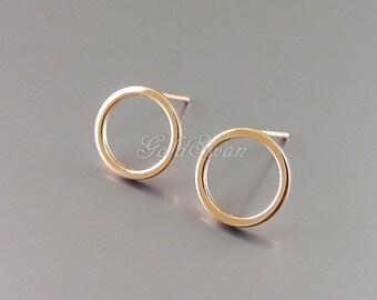 4 shiny rose gold 10mm simple circle earrings, rose gold circle earrings, stud earrings 1071-BRG-10