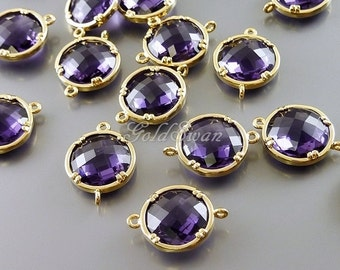 2 amethyst purple 12mm round shape glass connectors, faceted round glass charms 5014G-AM-12