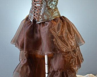 steampunk skirt-steampunk wedding-bridesmaid-prom-alternative-club-corset skirt-ruffle-copper-fantasy-cosplay-the secret boutique-masquerade
