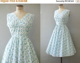 Boussac dress   Floral & partridge birds blue cotton dress   1960's by cubevintage   medium