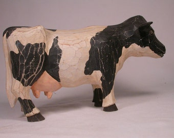 Cow Hand Carved Sculpture Handcrafted from Basswood