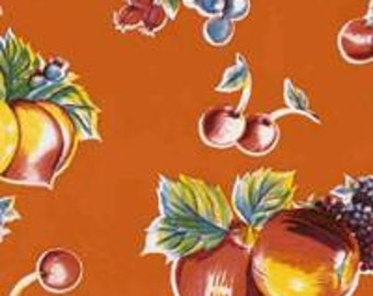 Orange Pears and Apples Oilcloth Fabric