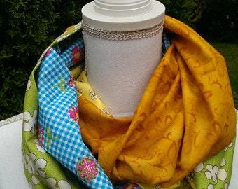 Handmade Fabric Infinity Scarf  lightweight cotton floral multicolor fabric