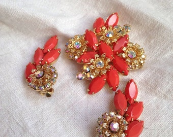 Juliana Faux Coral Brooch Earrings Rhinestone Flowers