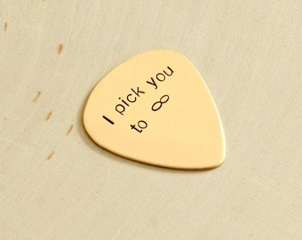 Infinity Guitar Pick in Bronze for Everlasting Love and Hand Stamped with I Pick You - GP906