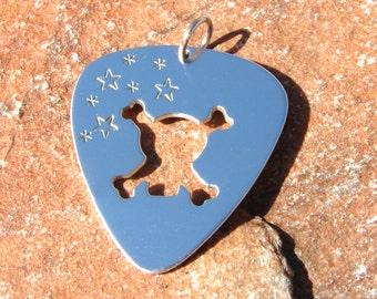 Skull sterling silver guitar pick necklace - solid 925 NL211