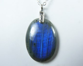 Labradorite Necklace, Large Labradorite Pendant Necklace with Rich Cobalt Blue and Royal Blue Flash, Sterling Silver Bail and Chain