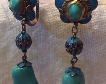 Antique Chinese Cloisone Enamel Turquoise Silver Drop Earrings
