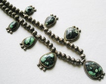 Navajo Sterling Silver 7 Stone Bisbee Turquoise Bench Bead Necklace
