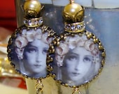Mary with rose crown image bead earrings sacred jewelry Pamelia Designs